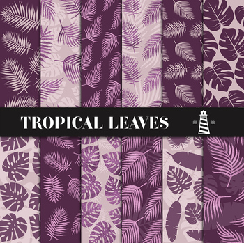 Purple Palm Leaf Patterns, Palm Leaves Backgrounds, Exotic Paper