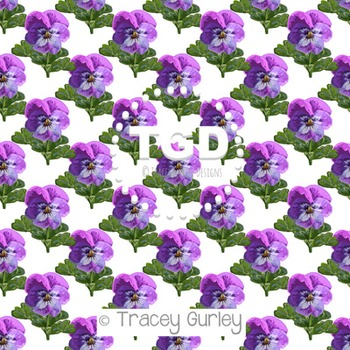 Purple Pansies white background digital paper Printable Tracey Gurley Designs