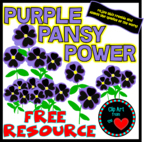 Purple Pansy Power ClipartFromtheHeart