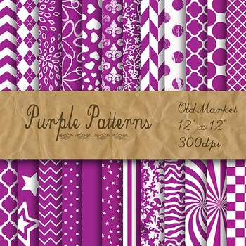 Purple Pattern Designs - Digital Paper Pack - 24 Different Papers - 12 x 12