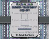 """Purple Peacock Bulletin """"Boarders"""" Clip-art {Blue, Green, Gray, Purple Borders}"""