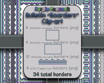 """Purple Peacock Bulletin """"Boarders"""" Clip-art {Blue, Green,"""