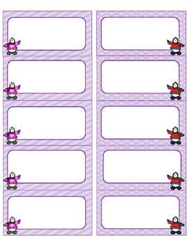 Purple Penguin Classroom Decor {Chalkboard Style and Editable}