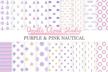 Purple Pink Orange White Nautical digital paper, Seal patterns