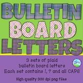 Purple Plaid Bulletin Board Letters - 3 different colors