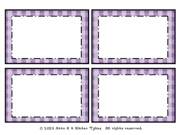 Purple Plaid Labels by Kinder Tykes