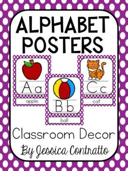 Purple Polka Dot ABC Posters
