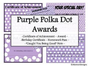 Purple Polka Dot Awards Set