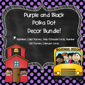 Purple  Polka Dot Classroom Decor Bundle