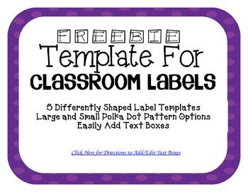 Purple Polka Dot Classroom Labels (Editable)