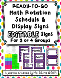 Purple Polka Dot EDITABLE Ready to Go Math Rotation Schedu