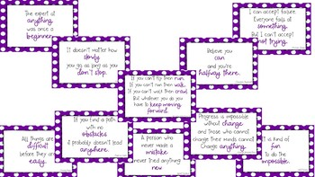 Purple Polka Dot Growth Mindset Posters