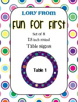 Purple Polka Dot Multi Table Signs