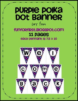 Purple Polka Dot Multi Welcome Back Banner