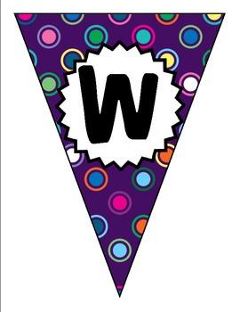 Purple Polka Dot Multi Welcome Back Banner