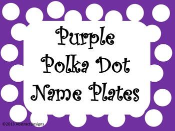 Purple Polka Dot Name Plates
