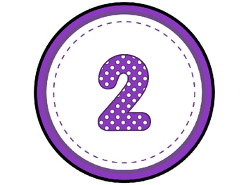 Purple Polka Dot Table Numbers 1-8