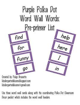 Purple Polka Dot Word Wall Words Pre-Primer