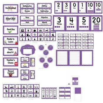 Classroom Theme Decor / Organization - Mega Bundle (Editable!) - Purple Polkadot