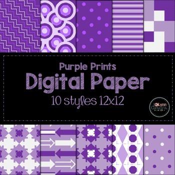 Purple Prints Digital Paper