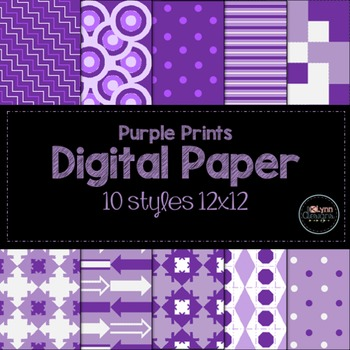 Purple Prints Digital Paper