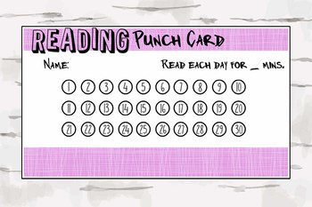 Purple Reading Punch Card, Reward Cards, Homeschooling, reading material, pdf