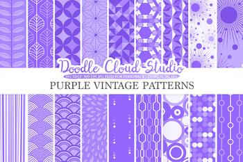 Purple Retro digital paper, Geometric Vintage patterns, Violet Lilac Lavender