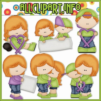 BUNDLED SET - Purple Ribbon Clip Art & Digital Stamp Bundle - Alice Smith