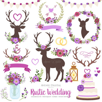 Purple Rustic Wedding Clipart - Deep Purple Deer and Flower Wreath Graphics