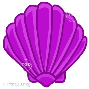 Purple Scallop Shell - scallop shell clip art Printable Tracey Gurley Designs