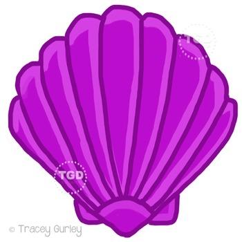 Purple Scallop Shell - scallop shell clip art Printable Tr