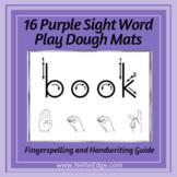 Purple Sight Word Play Dough Mats, Set 2 w/ Fingerspelling Guides & Handwriting