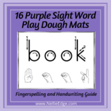 Purple Sight Word Playdough Mats (Set 2) w/ Fingerspelling