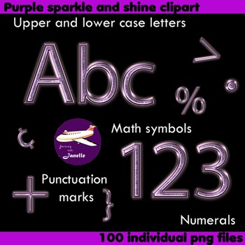 Alphabet Clip Art Purple Sparkle & Shine, Punctuation, Math Symbols & Numerals