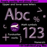 Alphabet Clip Art Purple Sparkle & Shine, Punctuation, Mat