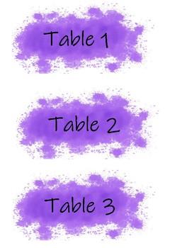 Purple Splatter Table Numbers
