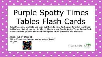 Purple Spotty Times Tables Flash Cards
