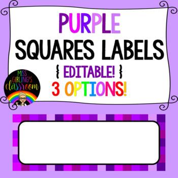 Purple Squares Labels {EDITABLE!}