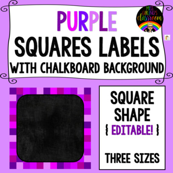 Purple Squares Labels (with Chalkboard Background) - Square Shape {EDITABLE!}