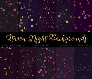 Purple Starry Midnight Backgrounds Celestial Stars Digital Paper Pack