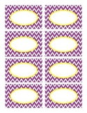 Purple Stitched Chevron with Yellow Classroom Decor Labels