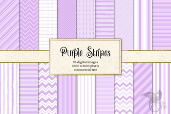 Purple Stripes Digital Paper and Overlays