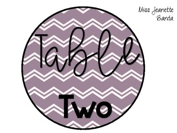 Purple Table Signs