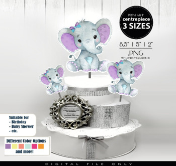 Purple Teal Girl Elephant Clip Art Centrepiece for Baby Shower,table decorations