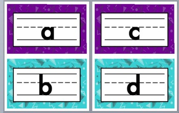 Purple - Teal Lower Case Alphabet Signs and Round Word Wall Headers