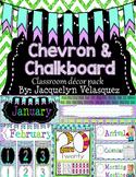 Purple, Teal, and Green Editable Chalkboard Classroom Decor Pack