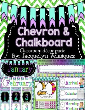 Purple, Teal, and Green Editable Chalkboard Classroom Decor Pack