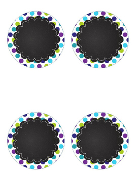 Peacock Editable Labels Purple, Teal, and Lime Green