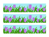 Purple Tulip Bulletin Board Border Printable Full Color PDF Spring Flowers April