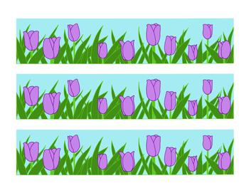 Purple Tulip Bulletin Board Border Printable Full Color PDF Spring Flowers April